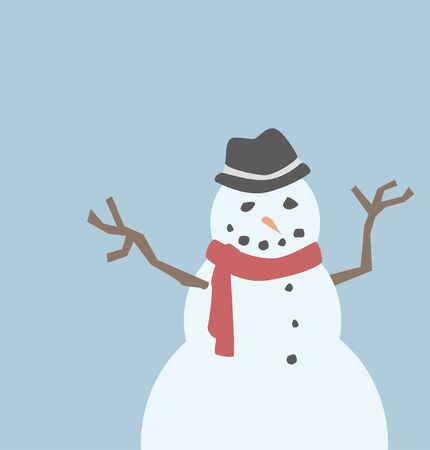 A snowman wearing a fedora and a red scarf. Illustration