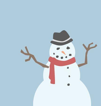 Een sneeuwman die een fedora en een rode sjaal. Stock Illustratie