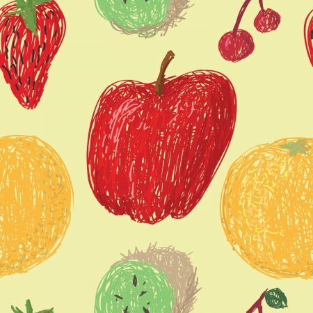 Loose drawings of various fruit in a seamless pattern on a pale yellow background.