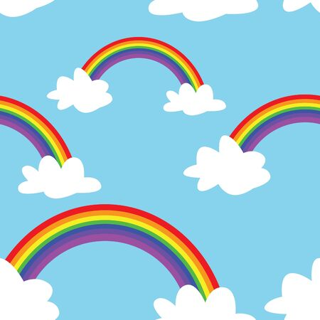 A seamless pattern of rainbows and clouds on a blue background. Illustration