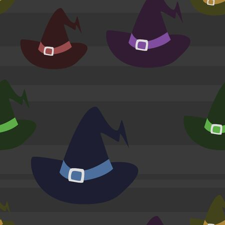 accessory: Five colors of witch hats in a seamless pattern on a striped dark background. Illustration