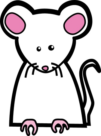 A torso of a mouse with paws that look as if it could hold something or hang over an edge. Illustration