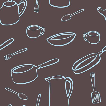 A seamless pattern of various objects found in the kitchen drawn in blue on a brown background.