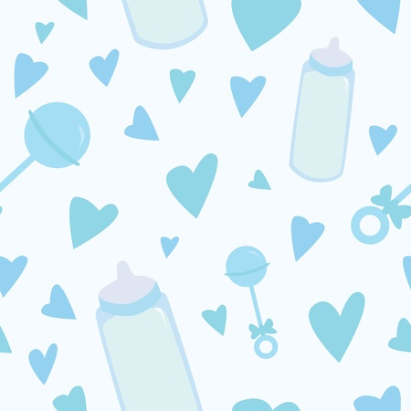 A seamless pattern of blue baby related items.