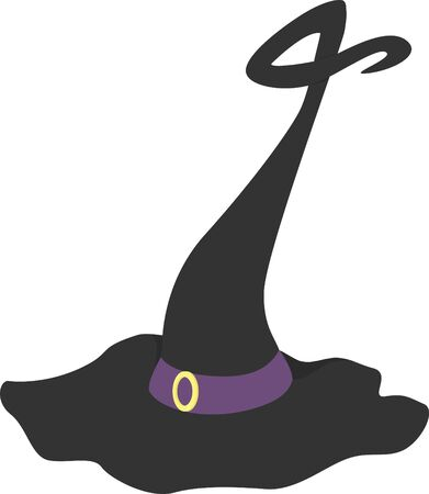 A fancy witches hat with a purple band and a  curlique point. Illustration