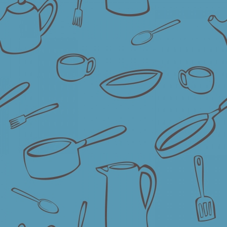 A seamless pattern of various objects found in the kitchen drawn in brown on a blue background. Illustration