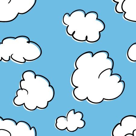 A seamless pattern of stylized cumulus clouds.