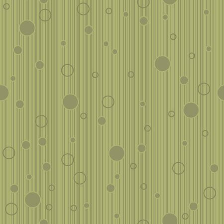 A seamless pattern of olive green colored lines and circles.