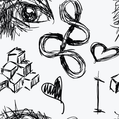 Een naadloze patroon van doodles die kunnen eb gevonden in schetsboek van een kunstenaar. Stock Illustratie