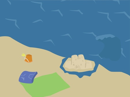 An illustration of a sandcastle and beach toys  by the ocean.