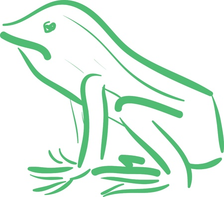 A loose illustration of a green frog.