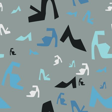 A pattern of blue, black, and white shoes on a grey background.