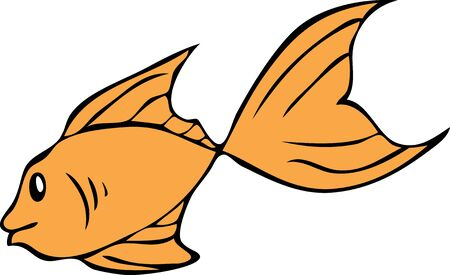 A simple illustration of a orange colored fish.