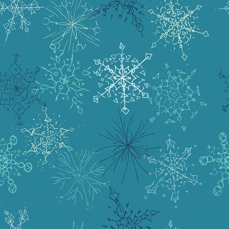 A seamless pattern of hand drawn snowflakes on a blue background. Stock Vector - 16483559
