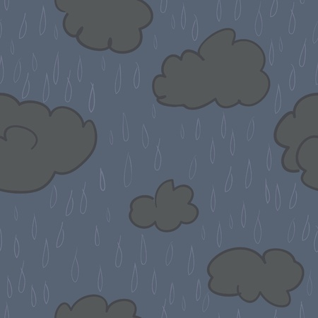 A seamless pattern of rain and rain clouds on a dark blue background.  Иллюстрация