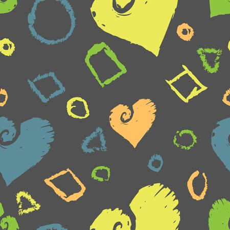 A seamless pattern of bright, grungy shapes and hearts on a dark grey background. Stock Vector - 16543063