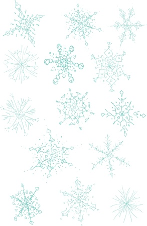A collection of fourteen hand drawn snowflakes.