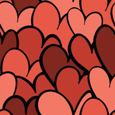 A seamless pattern of red and pink hearts overlapping eachother.  Ilustração