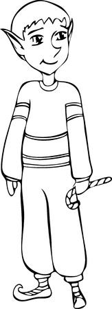 A holiday elf holding a candy cane. Иллюстрация