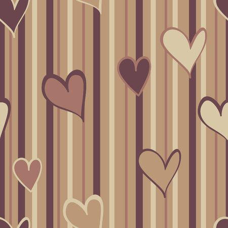 A pattern of warm brown hearts on a striped background.
