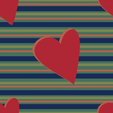 A hearts and stripes pattern with muted and darkened colors.