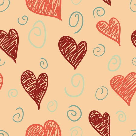A seamless pattern of scribble hearts and swirls on a peach background.  Stock Vector - 16759351