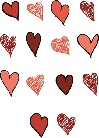 A set of fourteen hearts in 2 different styles.