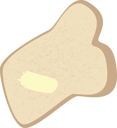 pan con mantequilla: Una rebanada de pan con un poco de mantequilla extendido sobre ella.