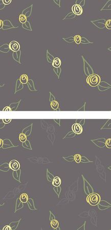Two variations of a seamless pattern of yellow rosebuds on a grey background. Stock Vector - 16855821