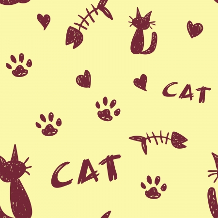 A seamless pattern of cat shapes. paw prints and fish bones on a pale yellow background. Stock Vector - 16927419
