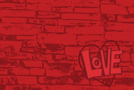 The word love written on a brick surface with copy space.  Illustration