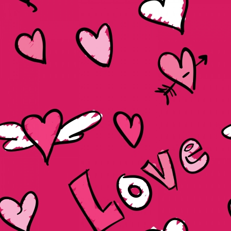 A pink seamless pattern with a love theme.