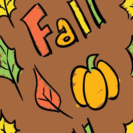 A seamless pattern with the season fall theme. Illustration