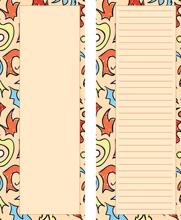 A set of two orange colored stationary pages with abstract design details.