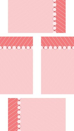 A set of pink stylized note cards Illustration