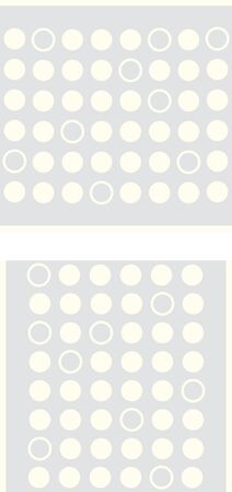 Two seamless patterns of pale yellow dots and circles on a light grey background. Çizim