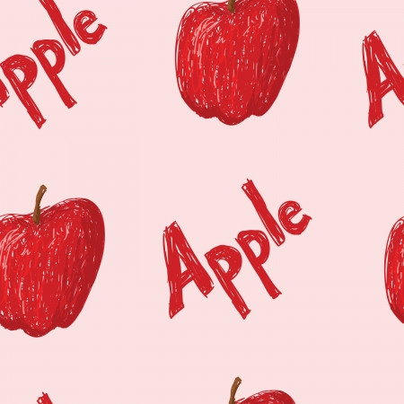 A seamles pattern of sketched apples and the word apple.