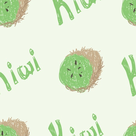 A seamless pattern of a sketched kiwi fruit and the word kiwi.