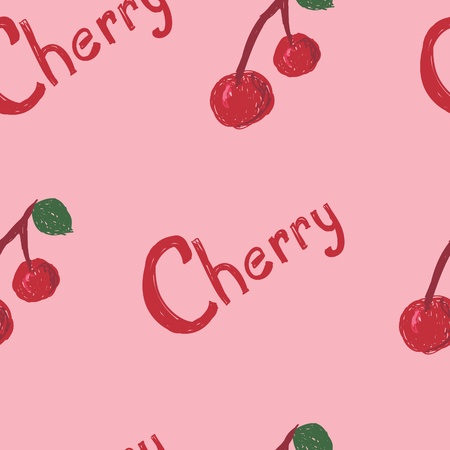 A seamless pattern of cherry berries and the word cherry.