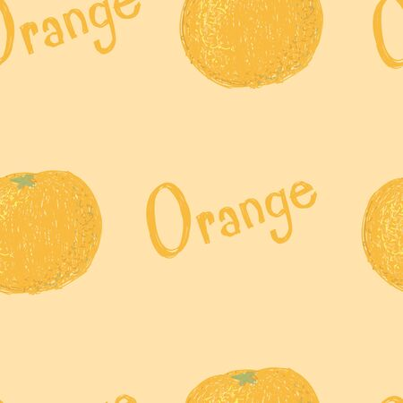 A seamless pattern of orange fruits and the word orange.