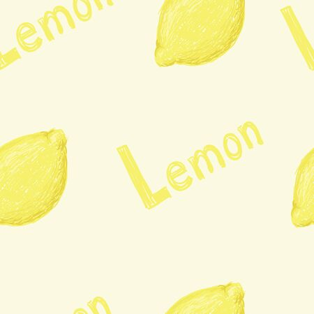 A seamless pattern of a sketched lemon fruit and the word lemon.
