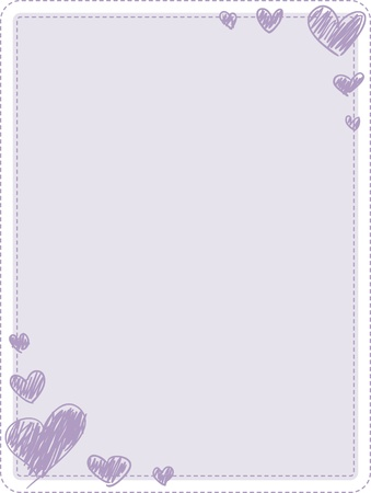 A sheet of 8.5 by 11 paper with rounded corners and purple heart embellishments.
