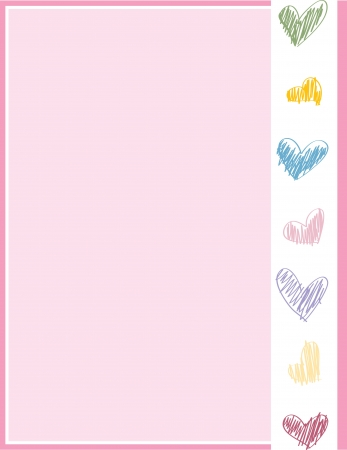 A pink stationary page with a rainbow heart decoration banner. Illustration
