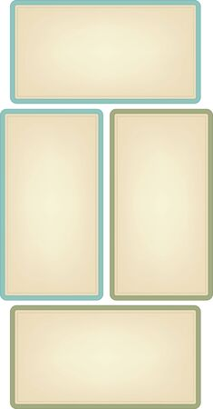 A set of four vintage style, rectangle labels in green and blue.  Illustration