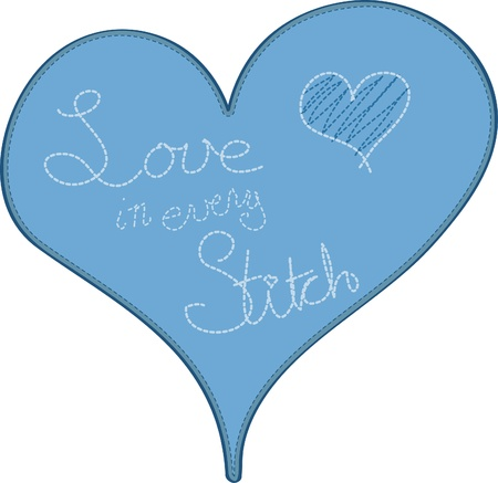 The words Love in Every Stitch embroidered on a blue heart.