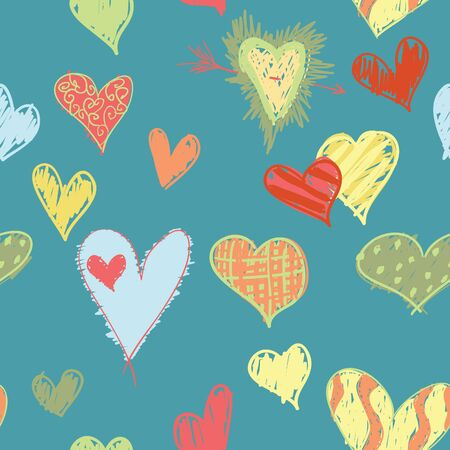 A seamless pattern of tropical colored, and sketchy designed hearts.  Illustration