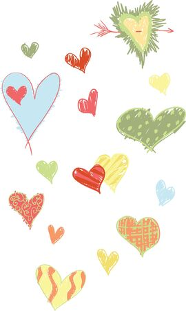 A set of tropical colored, and sketchy designed hearts.