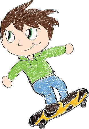 A sketch of a child riding on a skateboard.
