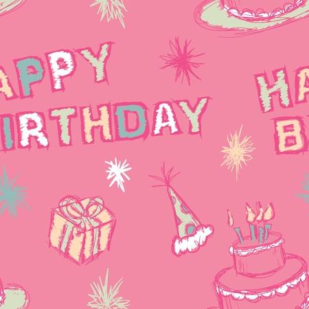 A seamless pattern of a Happy Birthday greeting and birthday party elements.
