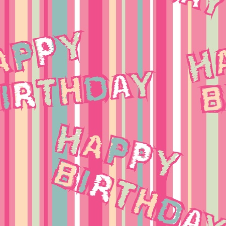 A seamless pattern of colorful, trendy stripes with the words Happy Birthday written on it.